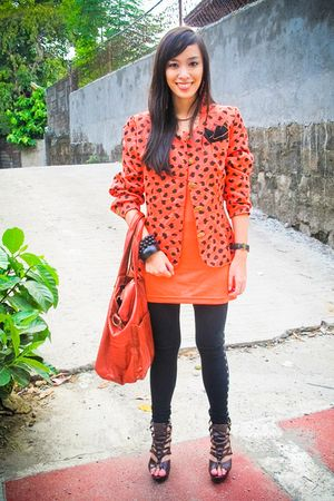 orange blazer - orange Zara top - black random brand leggings - brown bought onl