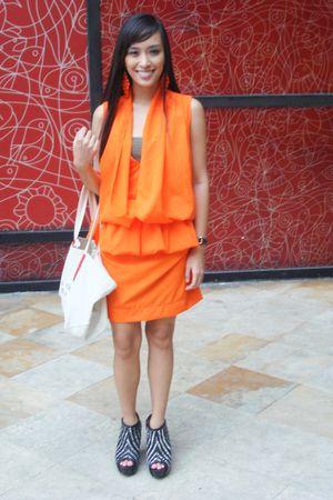 orange bought from bazaar dress - black Zara shoes - beige Michael Kors purse