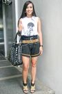 White-topshop-top-black-from-hongkong-shorts-black-zara-belt-brown-vintage