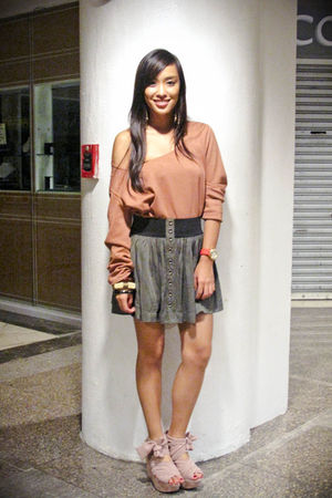 brown Tela Couture dress - green Forever 21 skirt - pink Topshop shoes