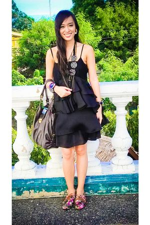 black Zara dress - black ichigo shoes - black purse - black anagon accessories -
