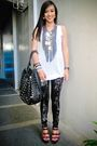 White-topshop-top-black-mafia-couture-leggings-red-bought-online-shoes-gra
