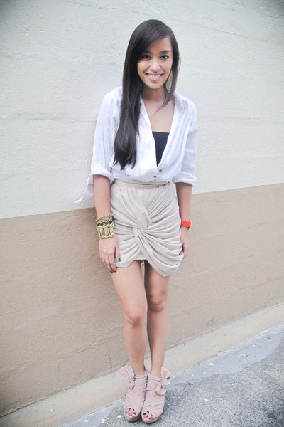 white long sleeves Zara top - pink wisteria Topshop shoes