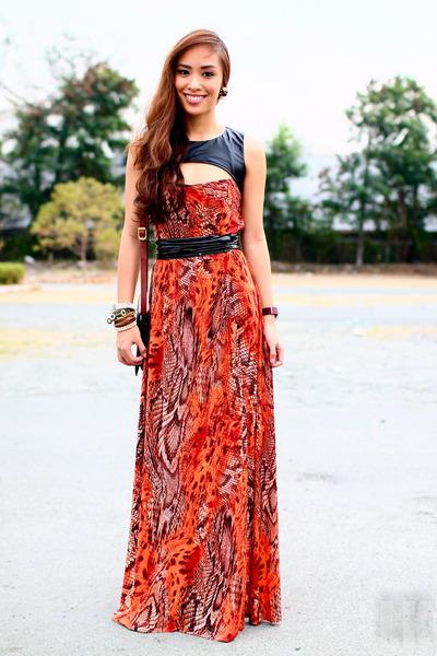 burnt orange StylistaPh dress