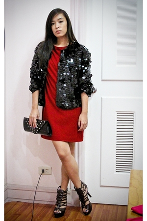 red mini dress Zara dress - brown heels online shoes - black sequined blazer