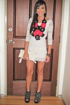 white lace Topshop dress - black Zara shoes - white skulls PBJ bag