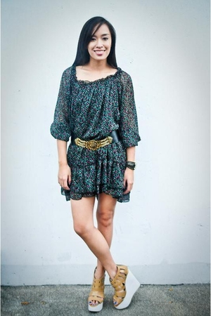 green dress - black Cintura belt - brown Soul Phenomenon shoes