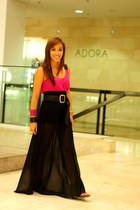 black maxi custom made skirt - hot pink top