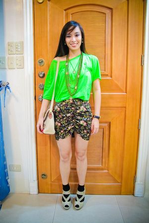 green Zara men shirt - green Poisonberry skirt - black random brand socks - beig