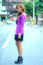 black heels Soule Phenomenon shoes - black SM skirt - purple Zara top