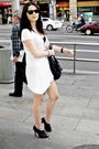 White-h-m-dress-black-shoes-black-purse-black-ray-ban-vintage-glasses