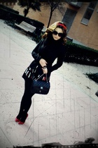red Bershka shoes - black Calzedonia tights - Mango skirt - black Zara blazer -