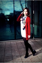 red Zara cardigan - gray H&M dress - black H&M shoes