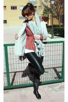 gray Zara blazer - black Zara leggings - black boots - red Zara shirt - silver Z