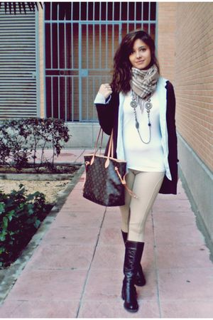 brown hazel boots - beige Zara leggings - blue shirt - brown Zara cardigan - Lou