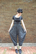 crop top American Apparel top - harem overalls Little Raisin Vintage pants
