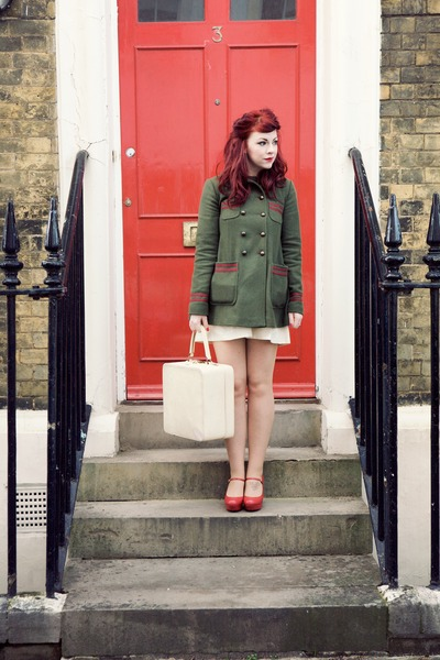 office heels - asos dress - topshop coat - jasper conran tights - vintage bag