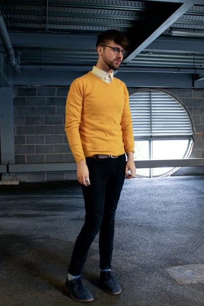 Menu0026#39;s Mustard Jumpers Navy Suede Shoes Black Cheap Monday Jeans | u0026quot;Yellow on a Grey Dayu0026quot; by ...
