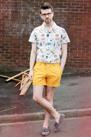 white Topman shirt - light yellow H&M shorts - heather gray Topman loafers