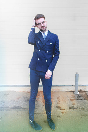 navy H&amp;M blazer - navy Pete Werth shoes - Happy Socks socks - navy Topman pants