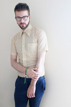 cream vintage shirt - navy Topman pants