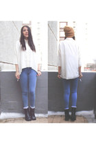 high waisted Topshop jeans - shiffon Calliope blouse