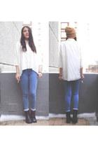high waisted Topshop jeans - shiffon Calliope blouse