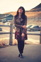 leather vintage boots - floral Plum dress - leather danier jacket - black Betsey