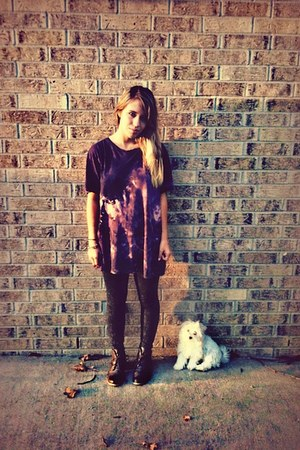 shirt - Forever 21 boots - acid washed Forever 21 tights