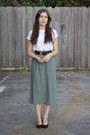White-cut-out-op-shop-t-shirt-teal-button-front-op-shop-skirt
