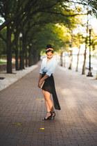 high-low Ebay skirt - cotton on belt - scarf dior hair accessory