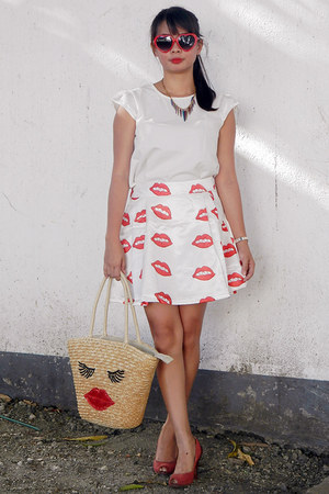 white BangGood dress - mustard PERSUNMALL bag