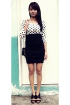 black bandage online buy skirt - white polka dots thrifted blouse