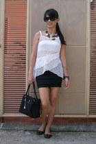 black Natasha shoes - black Roberta Rossi bag - ivory Peplum blouse