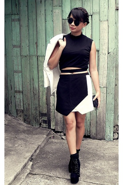 black Front Row Shop skirt - black Front Row Shop top