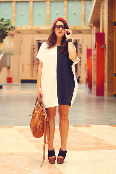 cotton bangkok dress - leather Prada bag - China sunglasses - platform wedges -