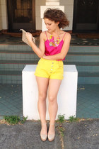 yellow vintage shorts - hot pink silk camisole vintage top
