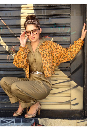 mustard cropped leopard op shopped jacket