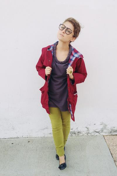 chartreuse skinny American Apparel jeans - maroon anorak vintage jacket