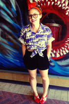 red vintage scarf - blue Tale of a Tall Fellow shirt - black Motel shorts