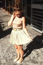 gold vintage belt - lime green vintage skirt - tan Primark blouse