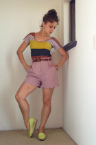 light purple Mossman shorts - coral striped pastel Obus t-shirt