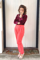 maroon velvet Op-shopped blouse - hot pink Forever 21 pants