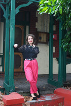 black Op-shopped blouse - hot pink Op-shopped pants