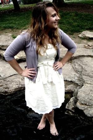 white Gap dress - necklace - purple Gap cardigan