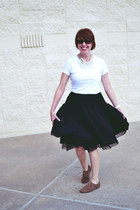 black tulle Anthropologie skirt - white cotton Target t-shirt