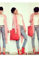 bubble gum bubble gum pink cardigan - heather gray gray jeans