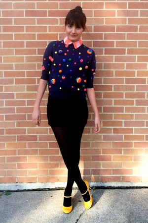 black black stockings - navy rainbow balls sweater - orange blouse