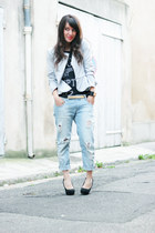 light blue Zara jeans - off white Chicwish jacket