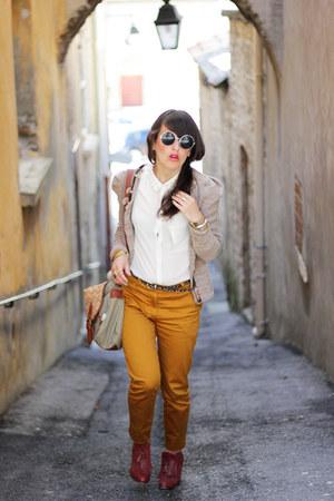 tawny H&M pants - white Chicwish shirt - beige Icode by ikks cardigan